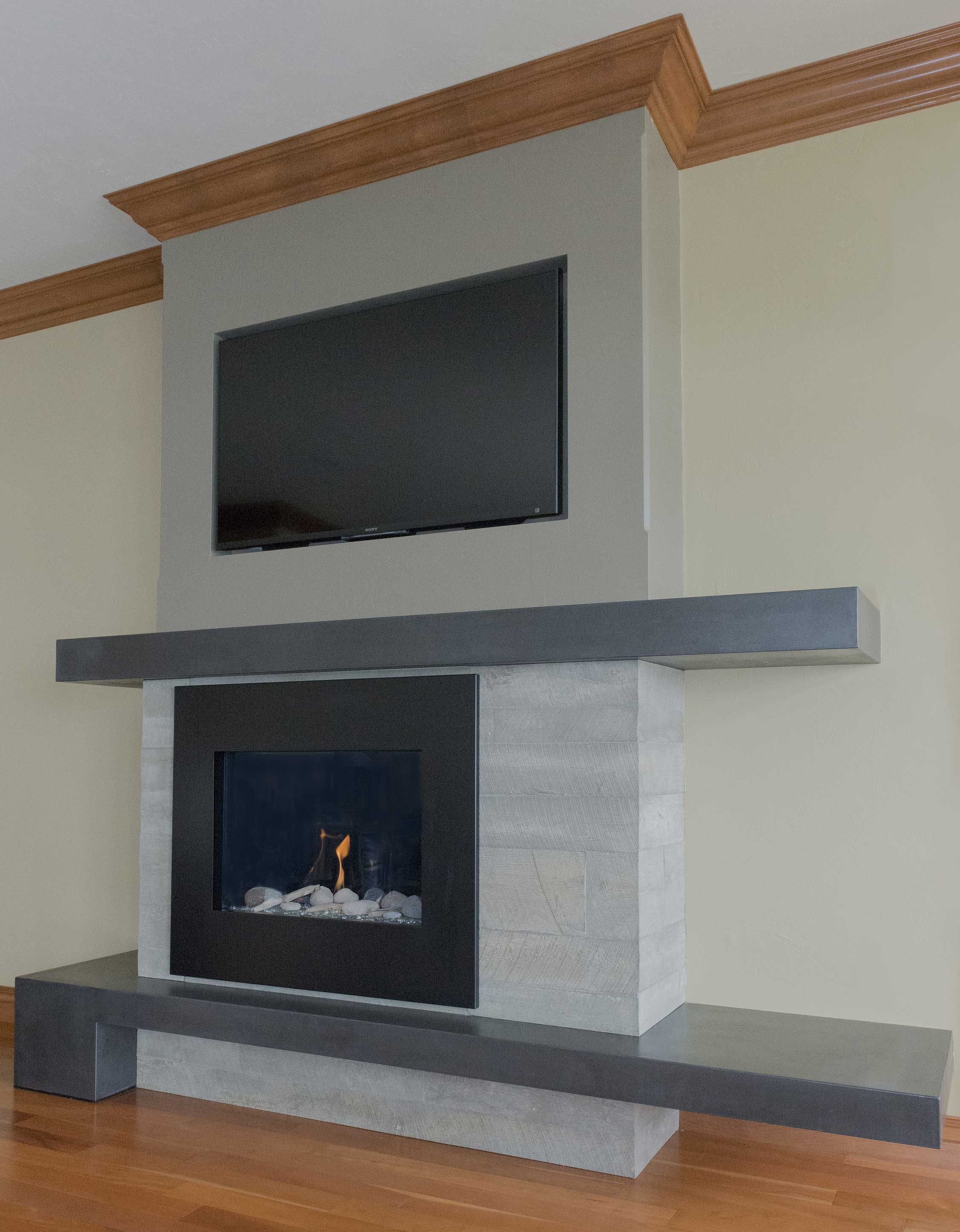 brick fireplace with surround concrete and of remodel pictures modern after ideas before corner